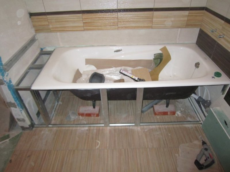 Установка чугунных ванн своими руками
